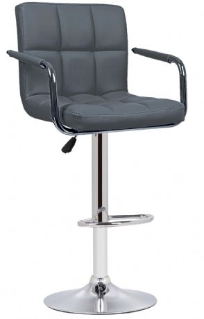 1  Milan Grey Faux Leather Padded Seat Bar Stool With Arms